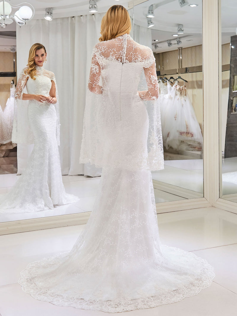 High Neck Court Lace Long Sleeves Church Wedding Dress