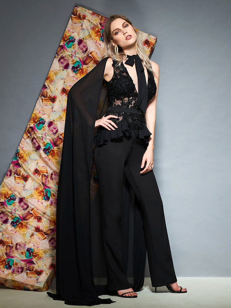 Floor-Length Sheath/Column Watteau Lace Evening Dress