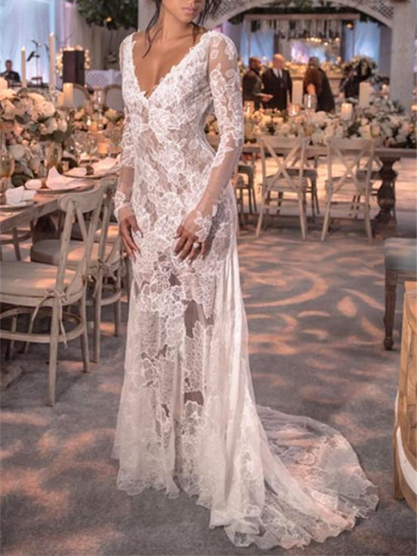 Long Sleeves V-Neck Floor-Length Sheath/Column Hall Wedding Dress