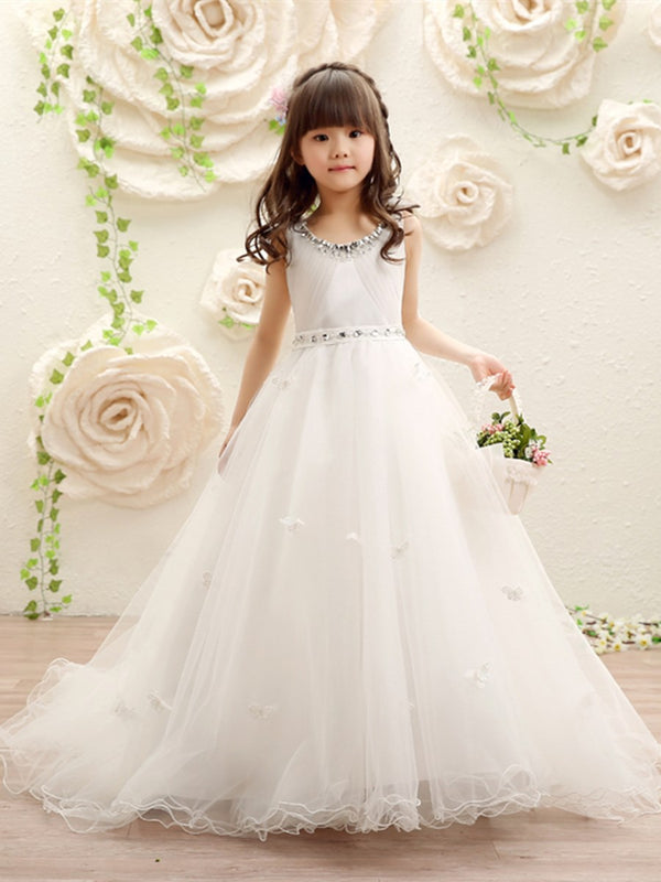 Sleeveless Floor-Length Ball Gown Court Flower Girl Dress