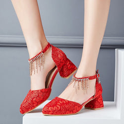 Rhinestone Chunky Heel Line-Style Buckle Round Toe Plain Banquet Thin Shoes