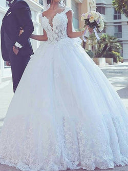 Cap Sleeves V-Neck Floor-Length Court Hall Wedding Dress