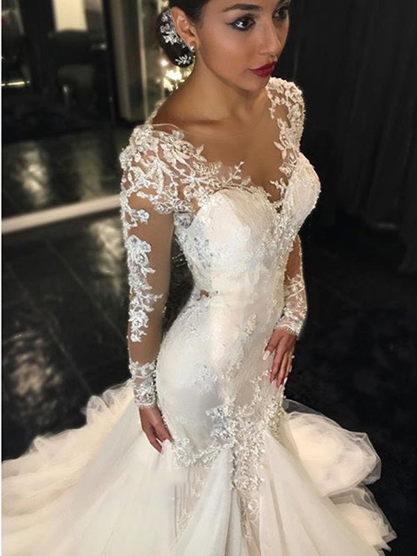 Floor-Length Trumpet/Mermaid Court Long Sleeves Church Wedding Dress