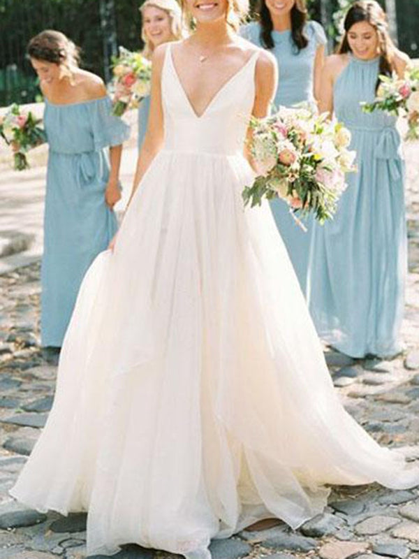 Sleeveless V-Neck Floor-Length A-Line Hall Wedding Dress