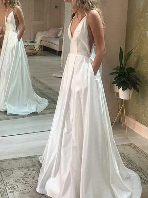 A-Line Sweep/Brush Floor-Length Spaghetti Straps Garden/Outdoor Wedding Dress