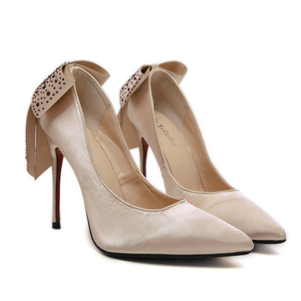 Thread Pointed Toe Slip-On Stiletto Heel Low-Cut Upper Sweet Thin Shoes