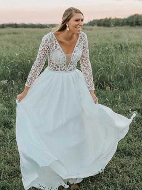 Long Sleeves Sweep/Brush V-Neck Floor-Length Church Wedding Dress