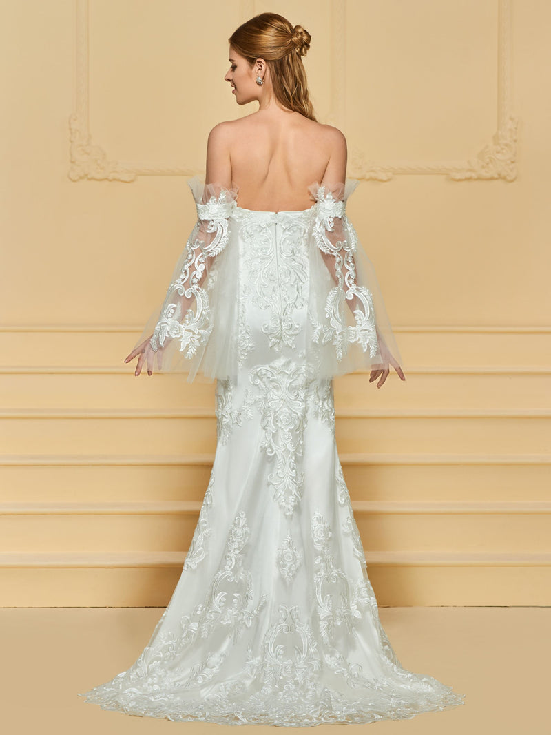 Long Sleeves Sweep/Brush Strapless Lace Hall Wedding Dress
