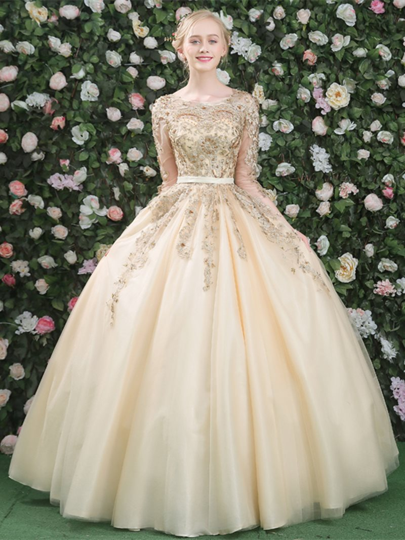 Scoop Ball Gown Sashes/Ribbons Floor-Length Quinceanera Dress