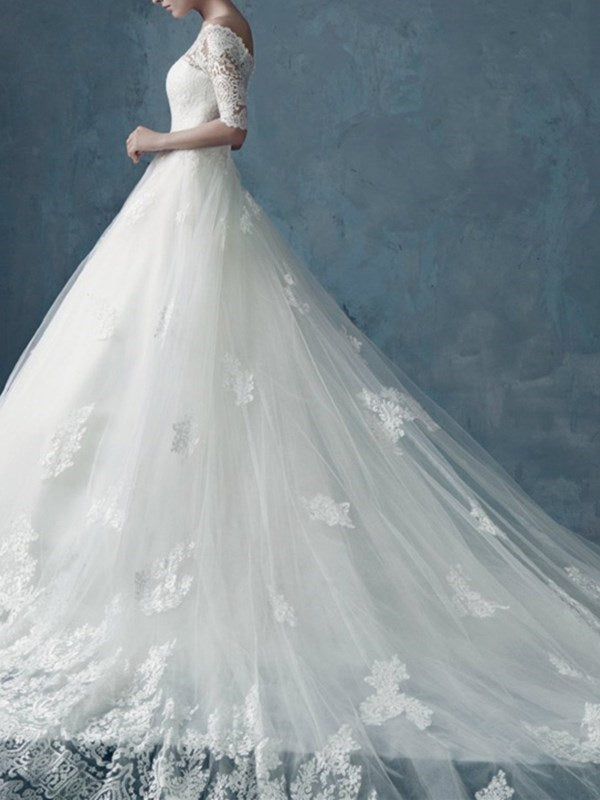 Cathedral Floor-Length A-Line Off-The-Shoulder Church Wedding Dress