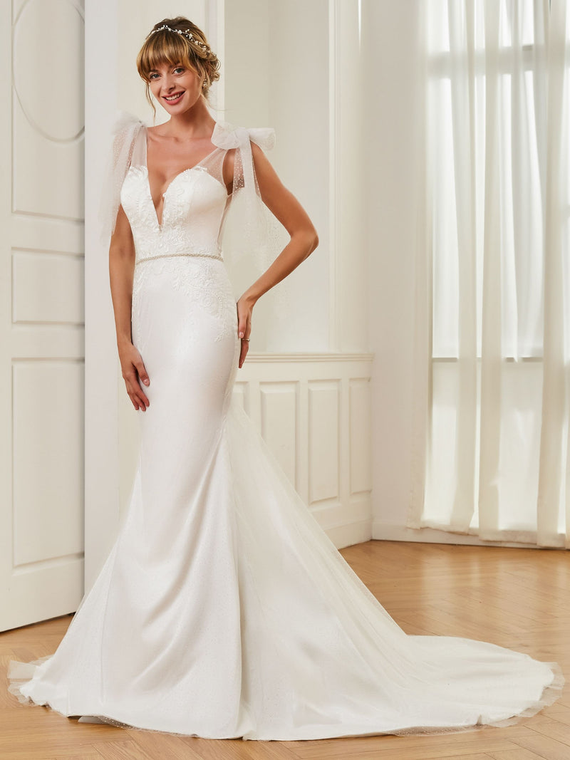 V-Neck Appliques Court Floor-Length Hall Wedding Dress
