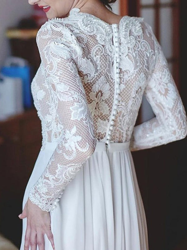 Floor-Length Long Sleeves V-Neck A-Line Garden/Outdoor Wedding Dress