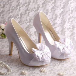 Slip-On Peep Toe Bow Stiletto Heel 10cm Low-Cut Upper Thin Shoes