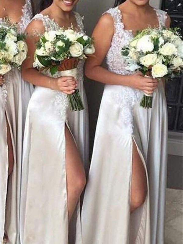Sleeveless Split-Front A-Line Floor-Length Wedding Party Dress