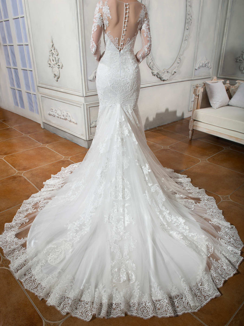 Court Scoop Trumpet/Mermaid Floor-Length Hall Wedding Dress