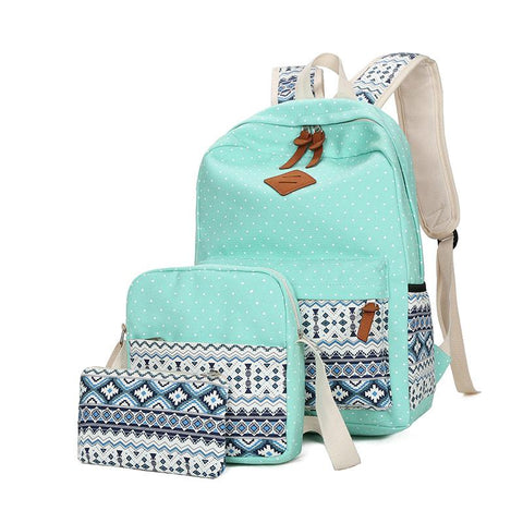 Canvas bag set- Backpack/Lunch box/Pencil case - boribags