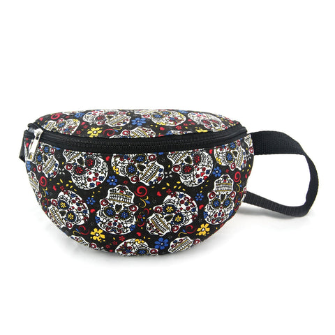 Canvas Sugar Skull Fanny Pack - boribags