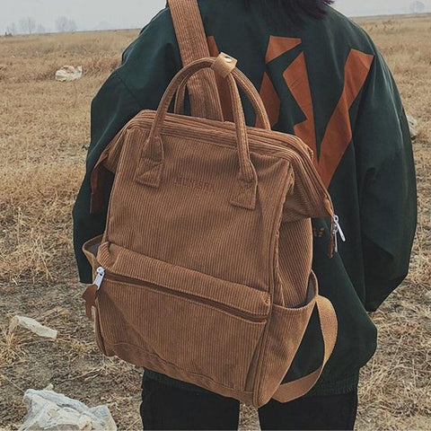 Corduroy Casual Large Backpack - boribags