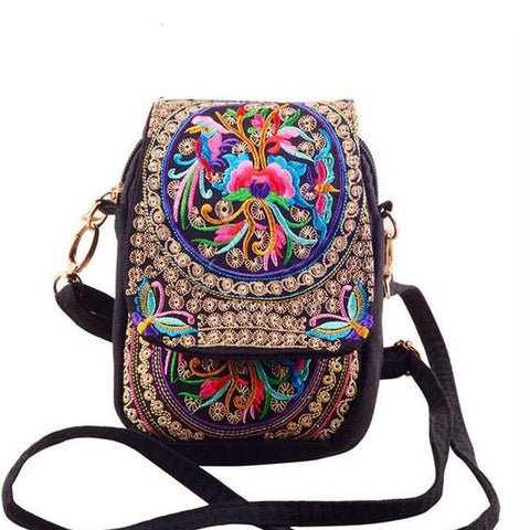 Ethnic Embroidered Canvas Messenger Bag - boribags