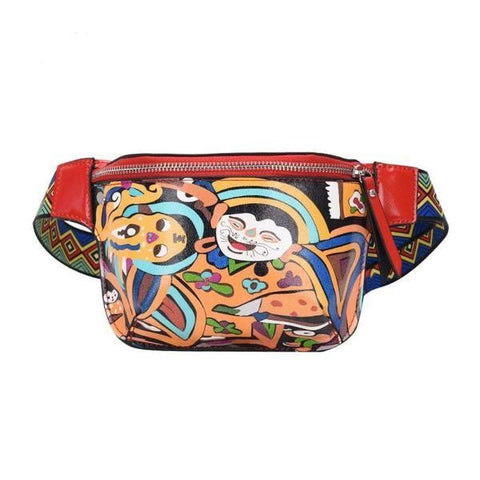 Ethnic Fanny Pack with Laughing Faces - boribags