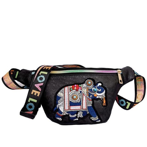 Ethnic Leather Fanny Pack with Elephant Embroidery - boribags