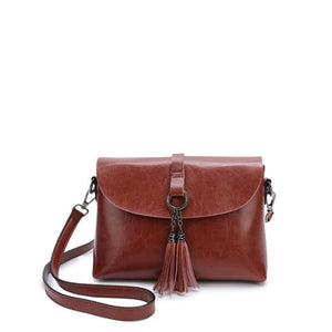 Genuine Leather Shoulder Bag with Tassel - boribags