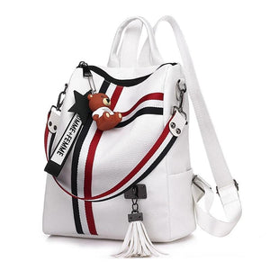 Leather Backpack with Crossed Double Stripes - boribags
