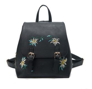 Leather Backpack with Flower Embroidery - boribags