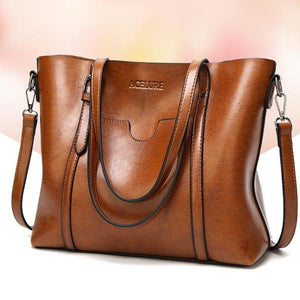 Leather Handbag With Front Pocket - boribags