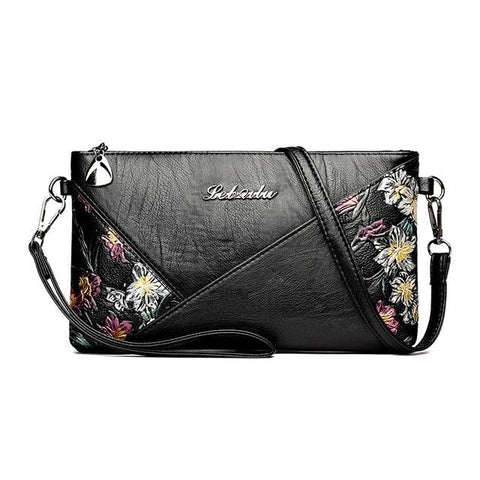 Leather Messenger Crossbody with Flowery Pattern - boribags