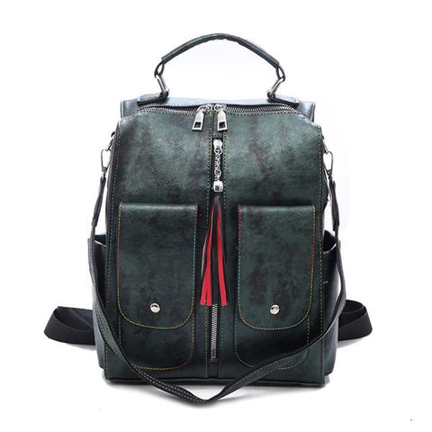 Retro Leather  Backpack with Tassel - boribags