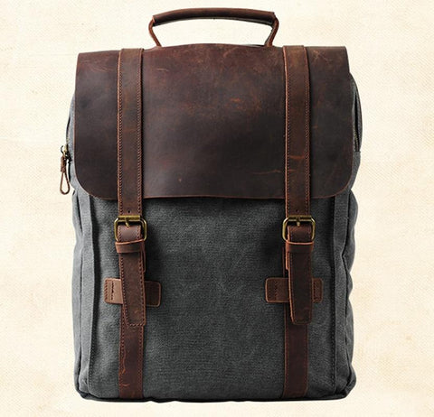 Vintage Canevas Backpack with Leather Flap - boribags