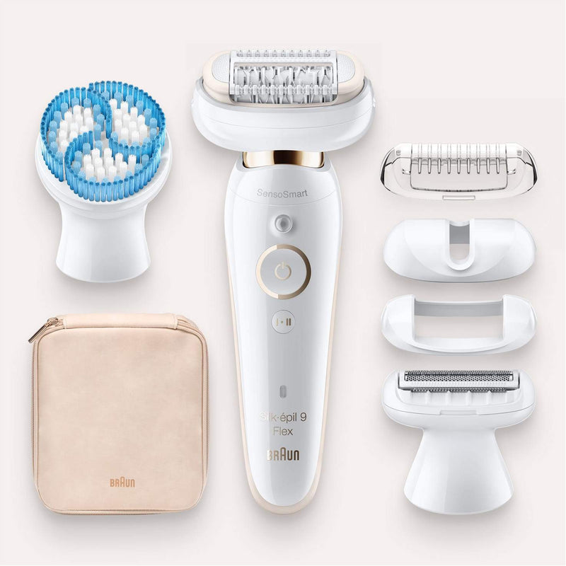 Braun Women's Silk-Epil 9 Flex 9010 Wet & Dry Epilator - with 6 Extras - White - Healthxpress.ie