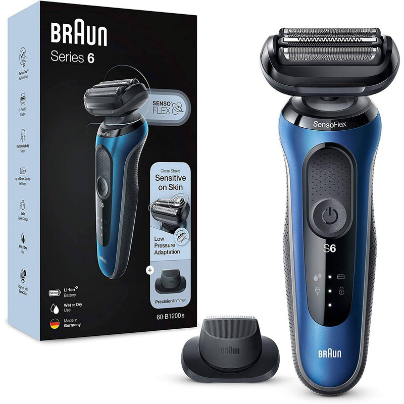 Braun Men's Series 6 60-B1200s Wet and Dry Electric Shaver w/ Travel Case - Blue - Healthxpress.ie