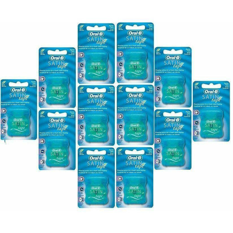 Oral-B Satin Tape Dental Floss - Comfort Grip, Easy Use - Cool Mint x 12 - Healthxpress.ie
