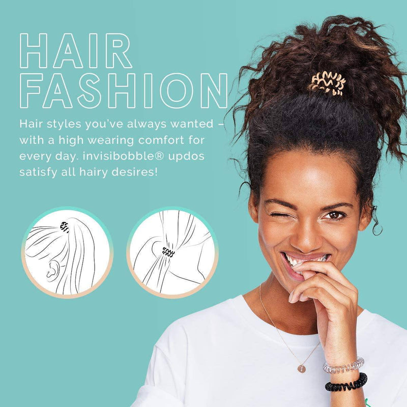 Invisibobble ORIGINAL Hair Ties, Crystal Clear, 3 Pack - Traceless, Strong Hold, Waterproof - Suitable for All Hair Types - Healthxpress.ie