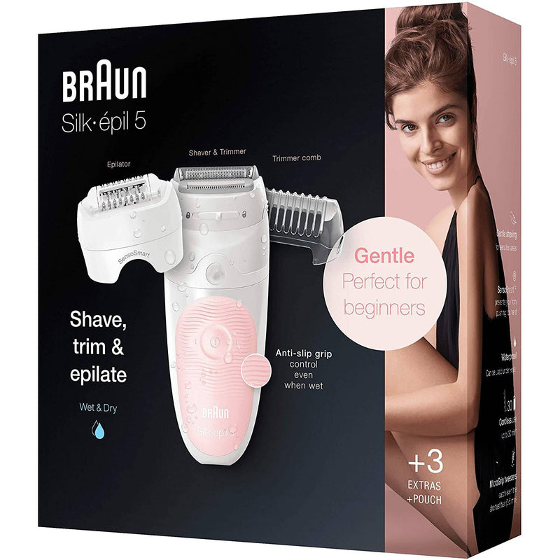 Braun Silk-épil 5 5-620, Epilator for Women, Includes Shaver and Trimmer Head for Gentle Hair Removal - Healthxpress.ie