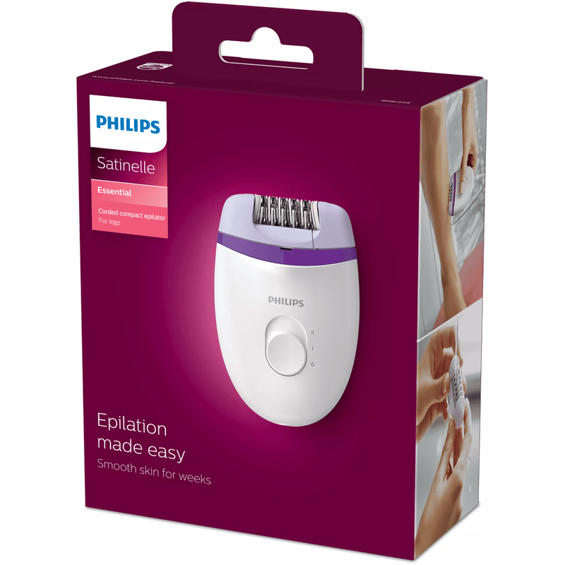 Philips BRE225/00 Satinelle Essential Corded Compact Epilator - 2 Speed Settings - Healthxpress.ie