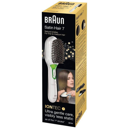 Braun Women's Satin Hair 7 IONTEC Brush - Gentle and Natural Bristles - White - Healthxpress.ie