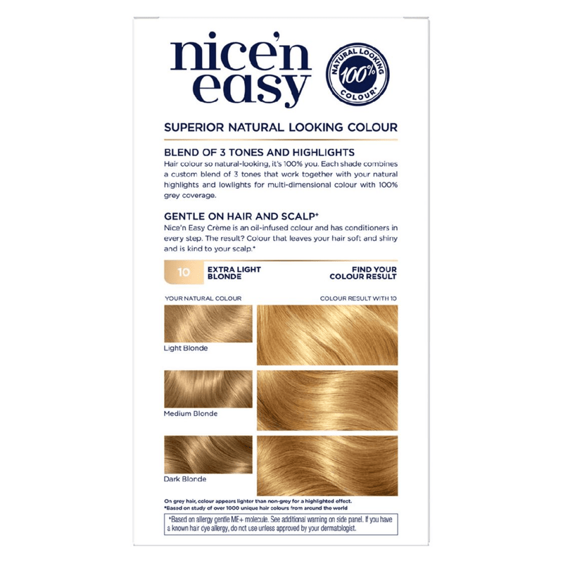 Clairol Nice N Easy Crème Natural Permanent Hair Dye - 10 Extra Light Blonde - Healthxpress.ie
