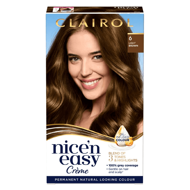 Clairol Nice N Easy Crème Natural Looking Permanent Hair Dye, 6A Light Ash Brown - Healthxpress.ie