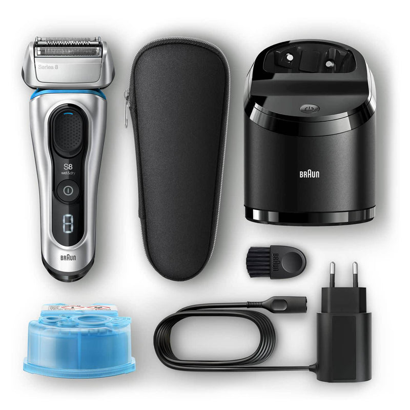 Braun Men's Series 8 8390cc Wet & Dry Electric Shaver - 100% Waterproof, Silver - Healthxpress.ie