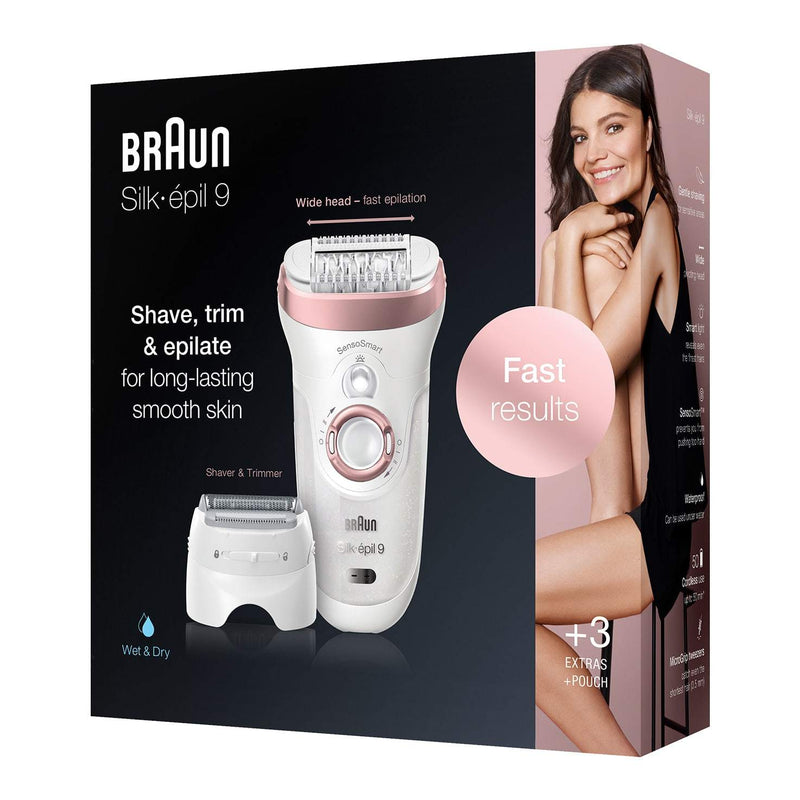 Braun Women's Silk-épil 9-720 Wet and Dry Epilator with 4 Extras - Pink/White - Healthxpress.ie