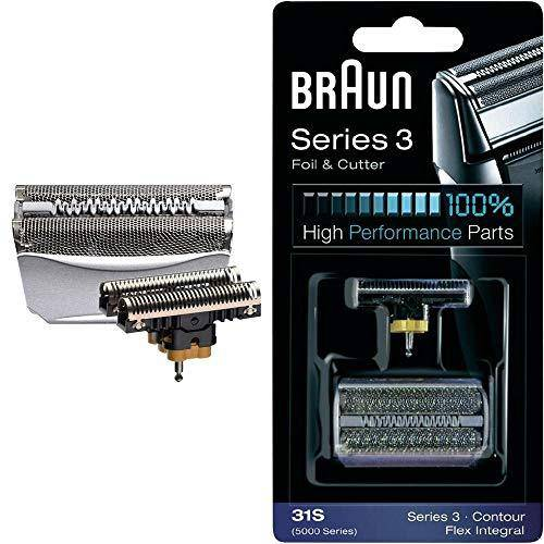Braun Replacement Foil and Cutter - 31S, Fits Series 3, Contour, Flex XP- 5000 Series Only - Silver - Healthxpress.ie