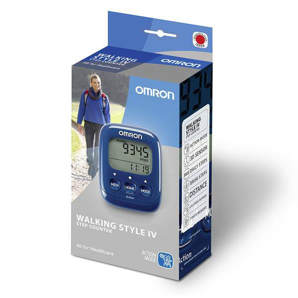 Omron HJ-325-EB Walking Style IV Pedometer Step Counter - 3D Sensor - Blue - Healthxpress.ie