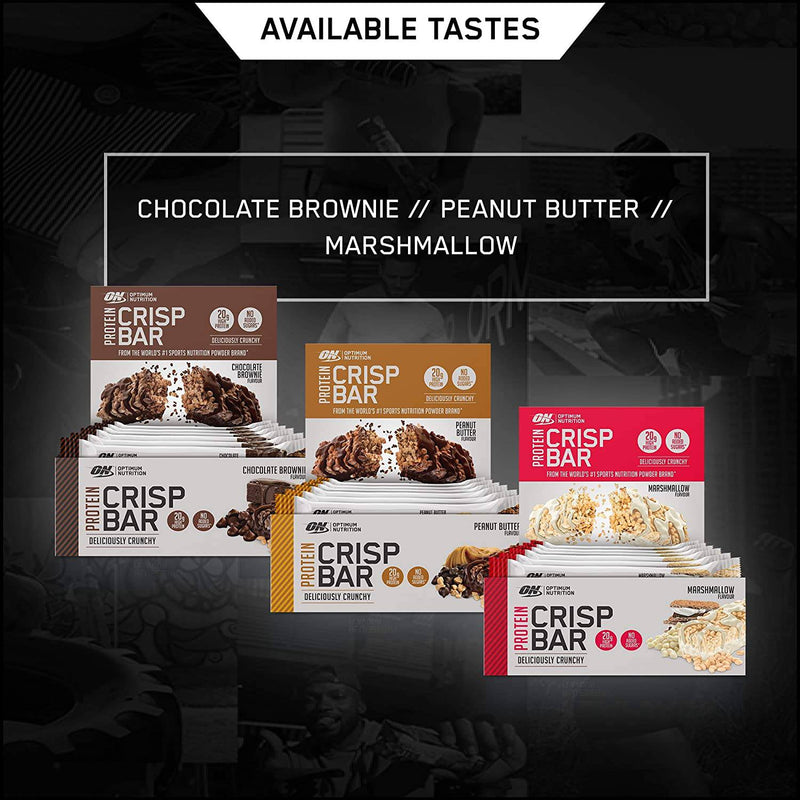 Optimum Nutrition Protein Crisp Bar with Whey Protein Isolate, Low Carb , No Added Sugar, Marshmallow, 10 Bars (10 x 65 g) - Healthxpress.ie