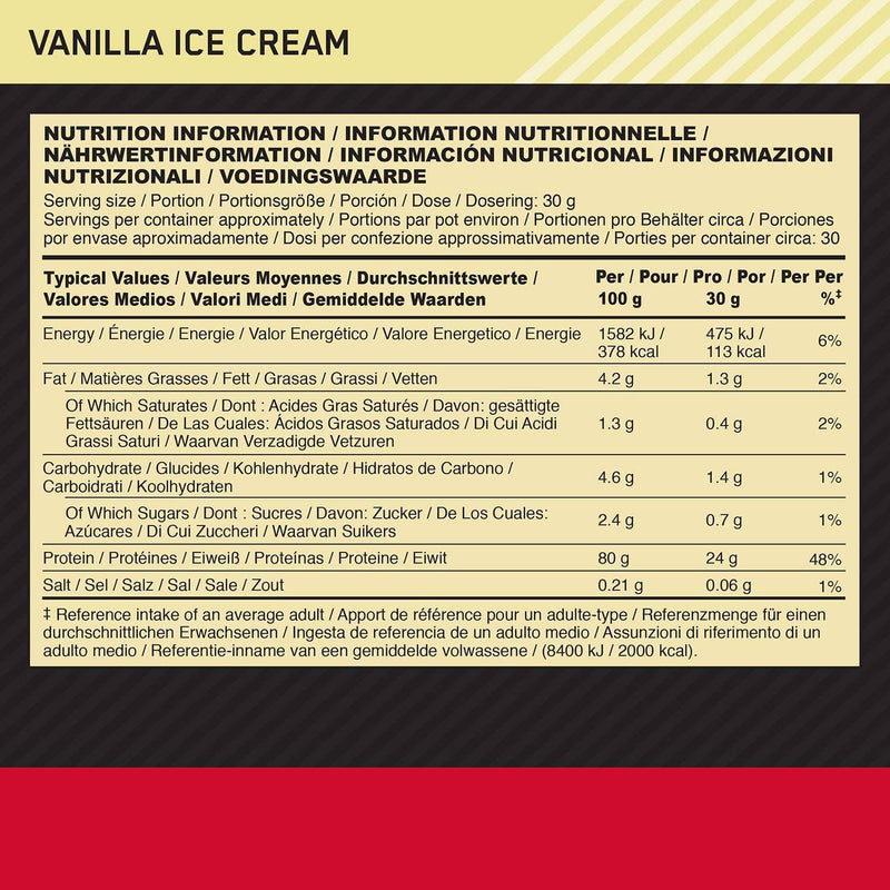 Optimum Nutrition 900G Gold Standard 100% Whey Protein - Vanilla Ice Cream - 28 Servings - Healthxpress.ie