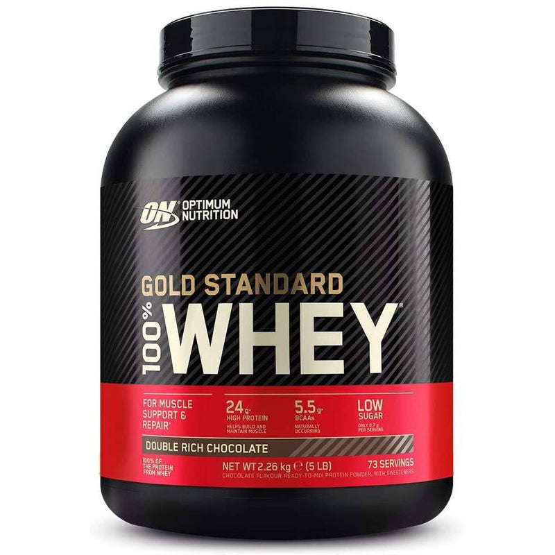Optimum Nutrition 2.27KG Gold Standard 100% Whey Protein - Double Rich Chocolate 5.15LB , 73 Servings - Healthxpress.ie