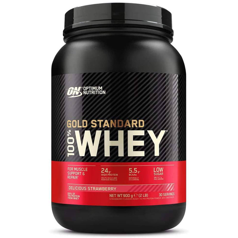 Optimum Nutrition 900G Gold Standard 100% Whey Protein - Delicious Strawberry - 28 Servings - Healthxpress.ie
