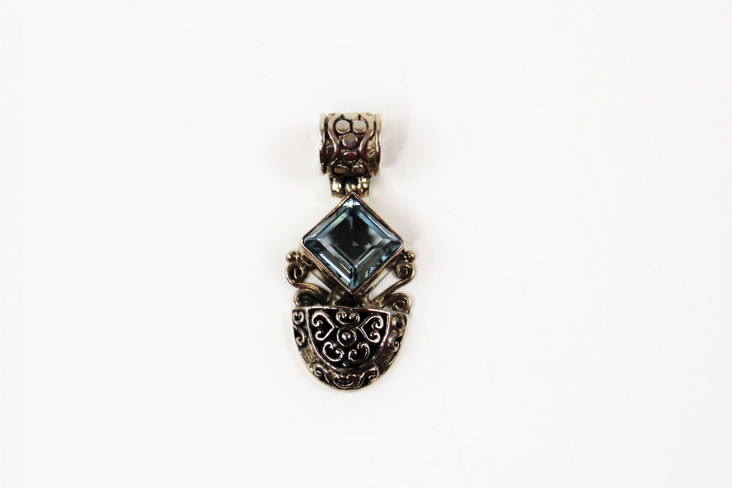 Blue Topaz Princess Cut Pendant